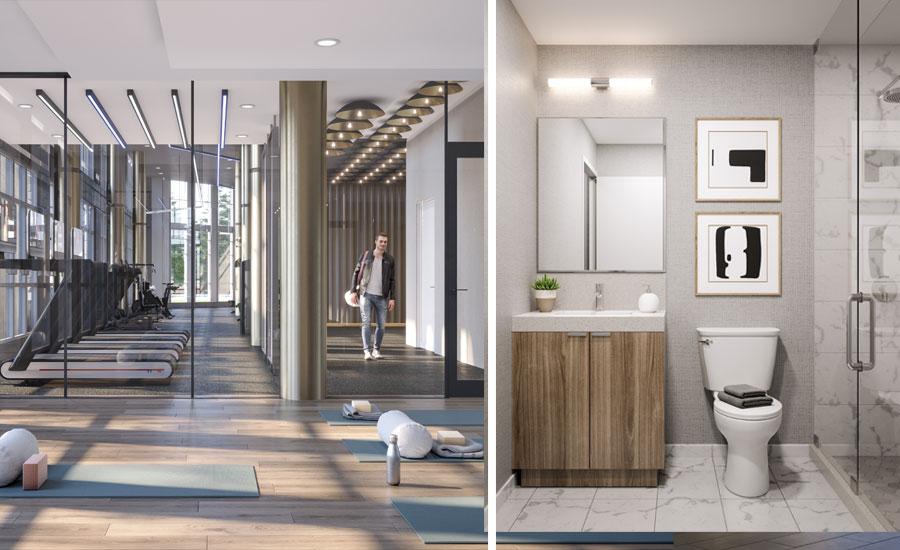 The Wilmot Condos Bathroom and Gym